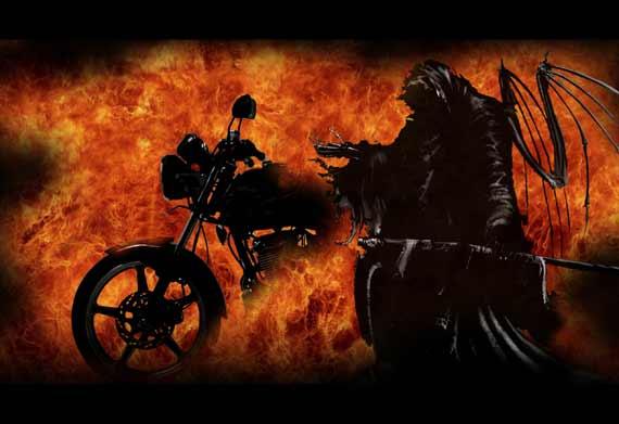 Di Jepara...Sepeda Motor Jatuh Terbakar Hebat Bapak dan Anak Tewas Ditempat.