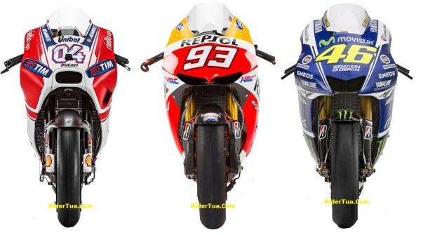 Ducati GP15 VS Honda RC213V VS Yamaha YZR-M1