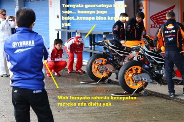 Teknisi Yamaha dan Ducati memata-matai Hondas,di  Jerez MotoGP tests, March 2013